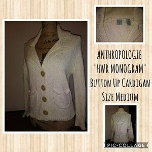 Anthropologie HWR Monogram Cardi--Size Medium
